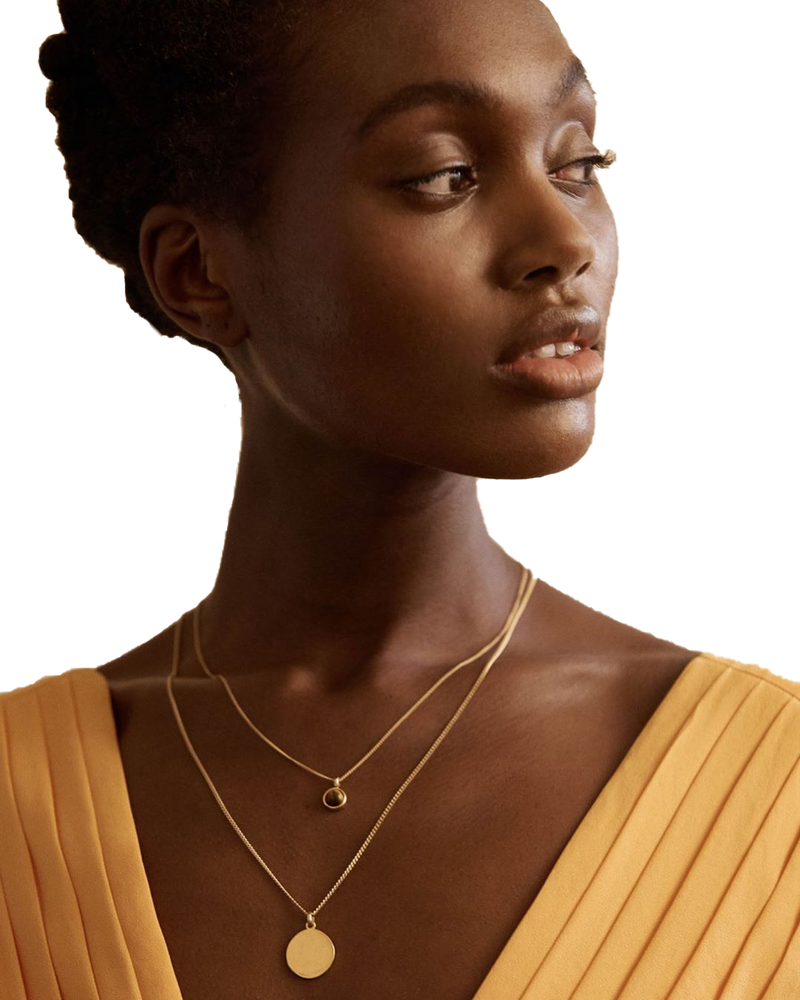 Handcrafted geometric tiger eye maria necklace in 18ct gold plated recycled sterling silver