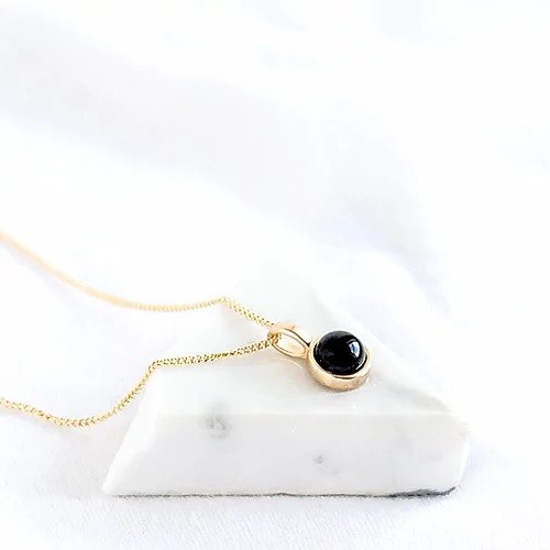 Handcrafted geometric black agate maria necklace in 18ct gold plated recycled sterling silver