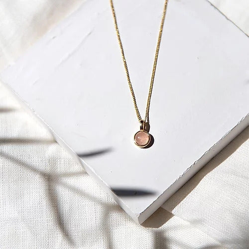 Handcrafted geometric rose quartz maria necklace in 18ct gold plated recycled sterling silver