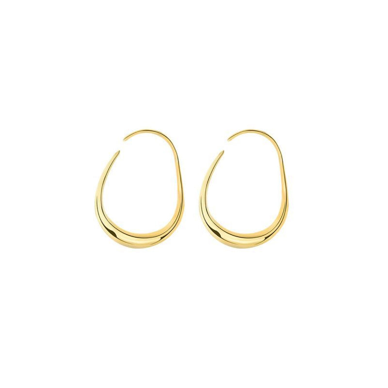 Picture of handmade gold plated geometric hoop earrings designed by East London based brand Keep it Peachy, now available to purchase at Cuemars