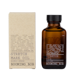 Picture of Organic Stretch Mark Oil in a 89 ml dark glass bottle manufactured by Swedish Organic Skin Care Brand Booming Bob