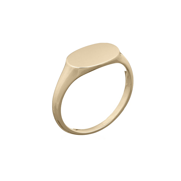 picture of Keep It Peachy's Cara Gold Oval Signet Ring available at Cuemars.com in different sizes