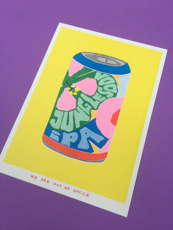 close up image of a Japanese inspired risograph print featuring a can of jungle soda IPA by Utrecht based We are out of office available now at Cuemars