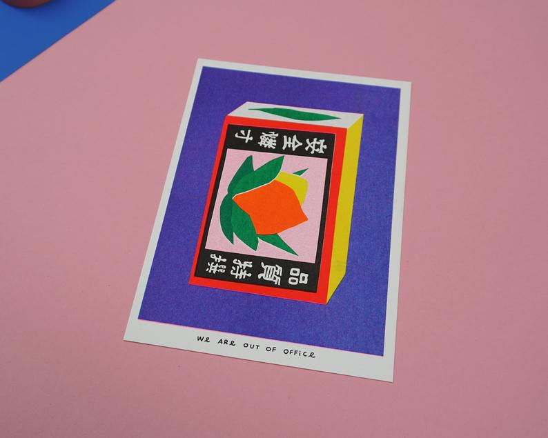 close up picture of a Japanese inspired risograph print featuring a package of matchstick box by Utrecht based We are out of office available now at Cuemars