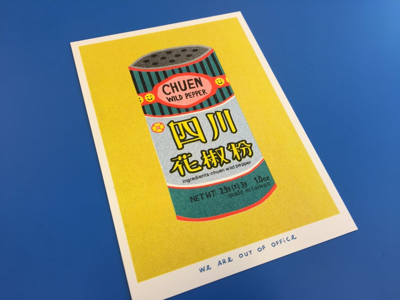 Close up picture of a Japanese inspired risograph print featuring a tin can of Chuen Pepper by Utrecht based We are out of office available now at Cuemars