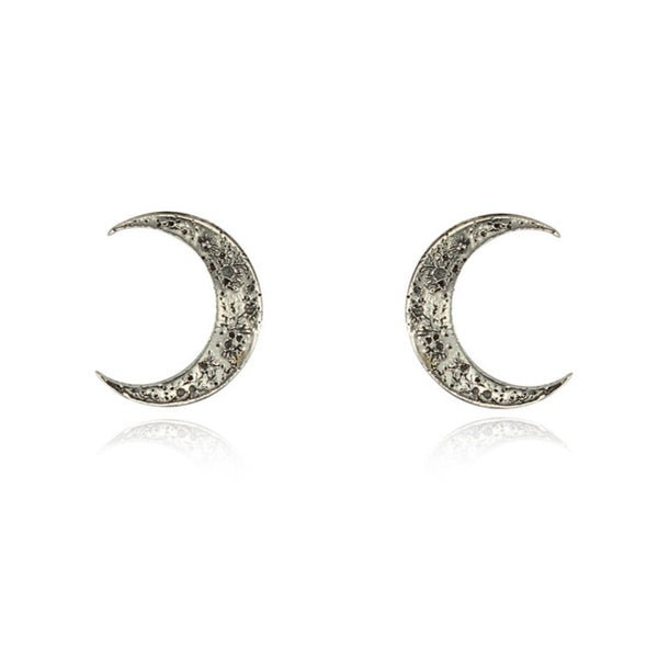 Crescent Moon earring sterling silver handmade by momocreatura