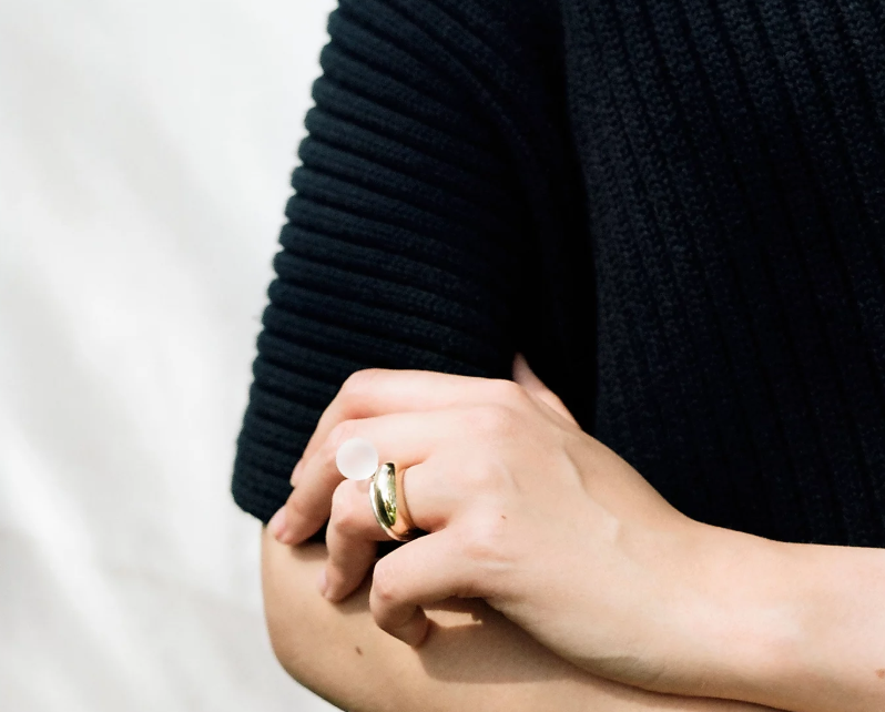 Deborah Tseng handmade sphere ring in sterling silver and a matte rock crystal