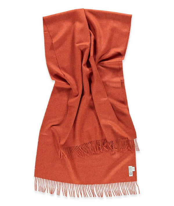 detailed picture of handmade super soft baby alpaca shawl by so cosy in burnt orange available online and at the store