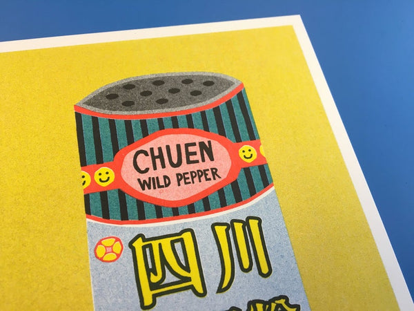 Close up details of a Japanese inspired risograph print featuring a tin can of Chuen Pepper by Utrecht based We are out of office available now at Cuemars