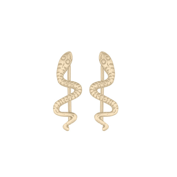 picture of handmade snake ear climbers in Gold Plated Sterling Silver by indie brand Keep it Peachy, available exclusively at Cuemars