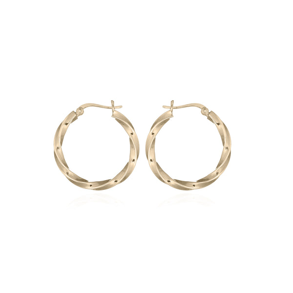 picture of handmade twisted small hoops in Gold Plated Sterling Silver by indie brand Keep it Peachy, available exclusively at Cuemars