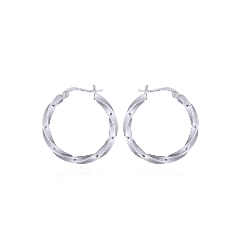 picture of handmade twisted small hoops in Sterling Silver by indie brand Keep it Peachy, available exclusively at Cuemars