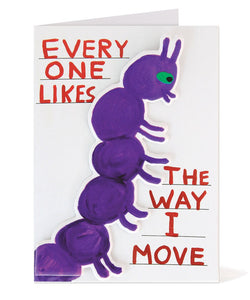 Greeting Card by David Shrigley with removable foam caterpillar sticker