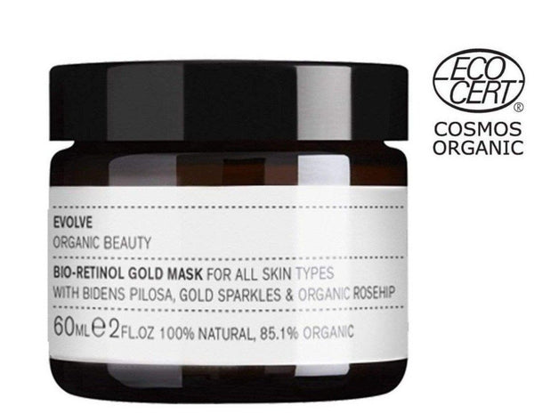 Picture of Evolve Organic Beauty's Award Winning Bio-Retinol Gold Face Mask available now at cuemars.com