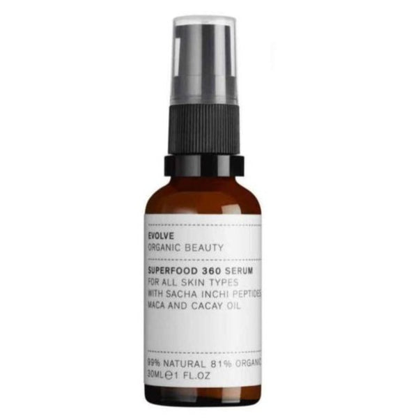 Picture of Evolve Organic Beauty's Award Winning Superfood 360 Face Serum available now at cuemars.com