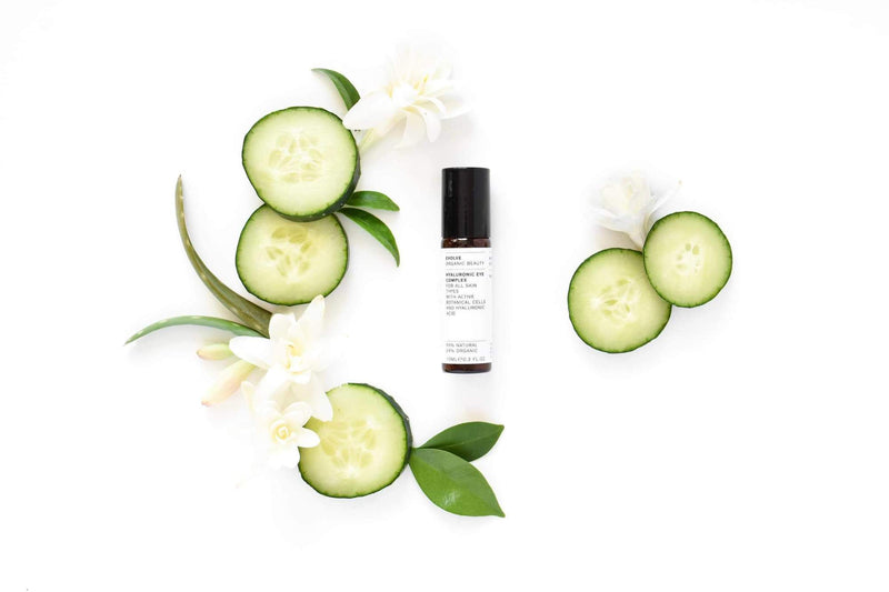 Flat Lay Picture of Evolve Organic Beauty's Award Winning Hyaluronic Eye Complex available now at cuemars.com