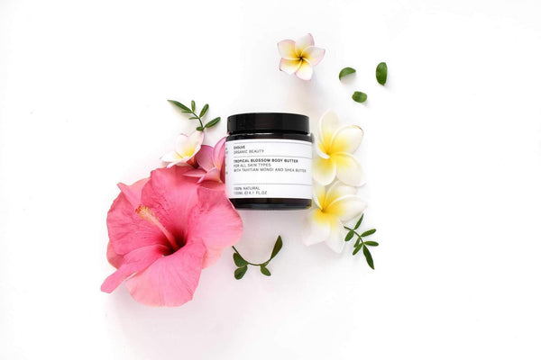 Flat Lay Picture of Evolve Organic Beauty's Tropical Blossom Body Butter available now at cuemars.com