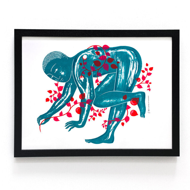 Framed Screen print Garden Man 2 limited edition by Tom Berry