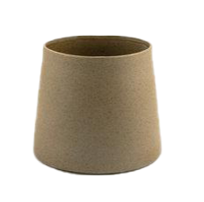 Geometric ceramic planter in beige with straight lines and soft texture