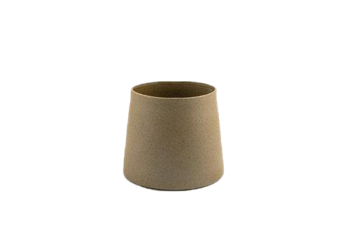 Medium sized geometric ceramic planter in straight lines and soft finished