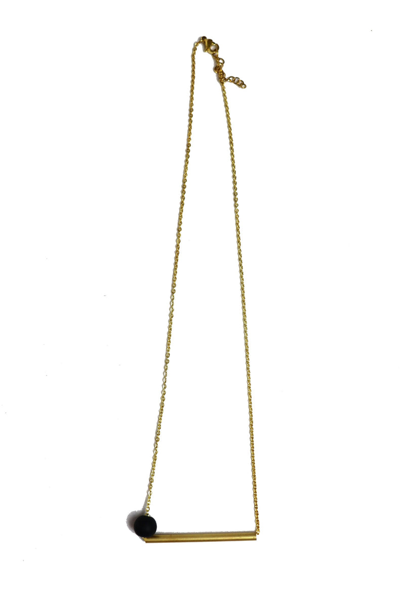 Brass Necklace with geometrical design by Corosch London with Bar Design and adjustable chain | Discover now at Cuemars