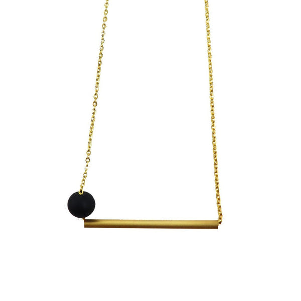 Brass Necklace with geometrical design by Corosch London with Bar Design | Discover now at Cuemars