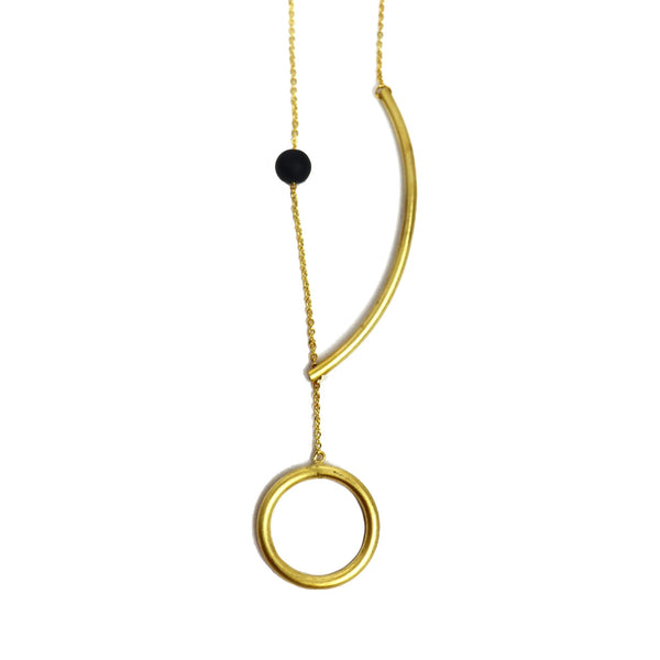 Brass Necklace with geometrical design by Corosch London | Discover now at Cuemars