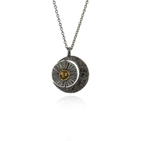 Momocreatura Crescent Moon and Sun Necklace Gold & OxidisedSilver