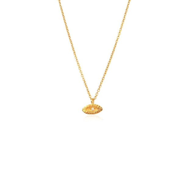 22ct gold plated tiny diamond eye necklace by Momocreatura