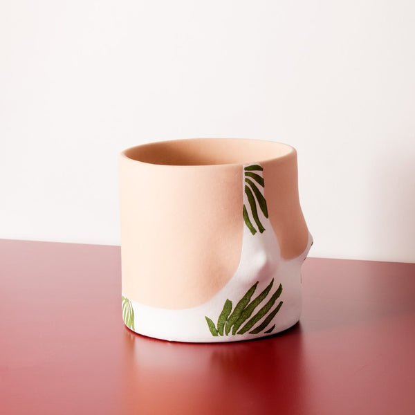 Details of Tropical leaves top handmade ceramic plant pot designed by Group Partner