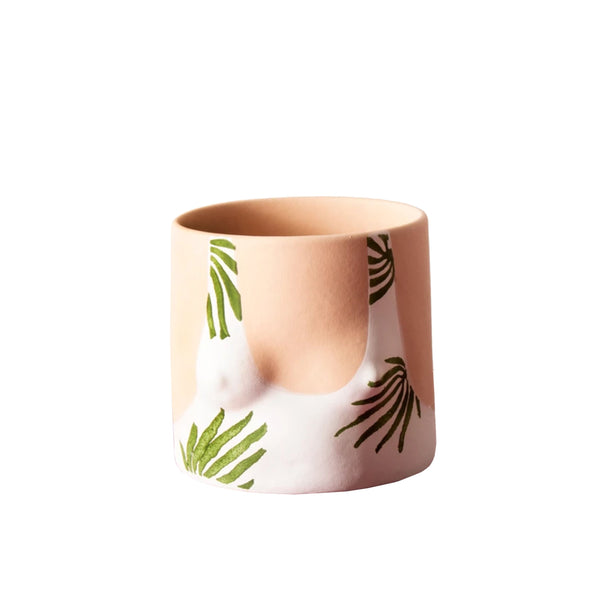 Tropical leaves top handmade ceramic plant pot designed by Group Partner