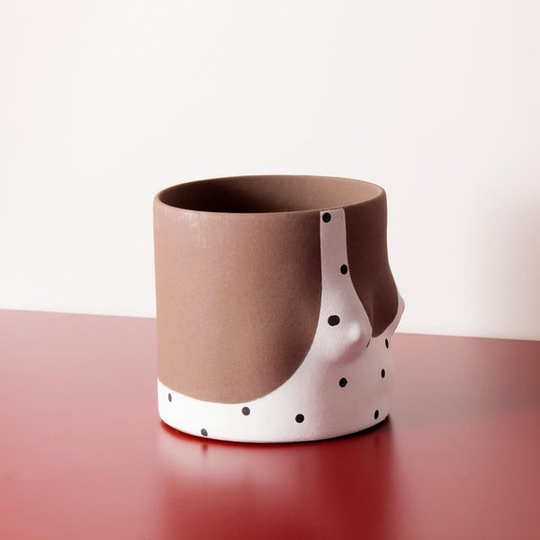 Close up Polka Dots Handmade dark tone ceramic plant pot by Group Partner
