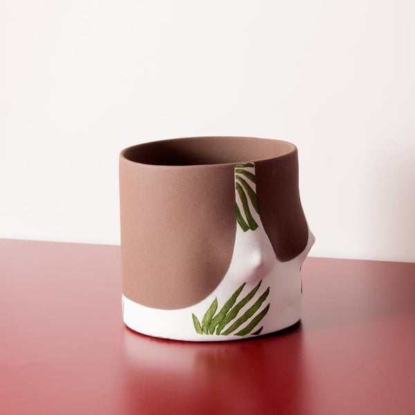 Close up Tropical Leaves Handmade dark tone ceramic plant pot by Group Partner