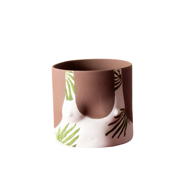 Tropical Leaves Handmade dark tone ceramic plant pot by Group Partner