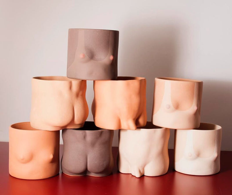Handmade terracotta tone Male Nude front ceramic plant pots by Group Partner