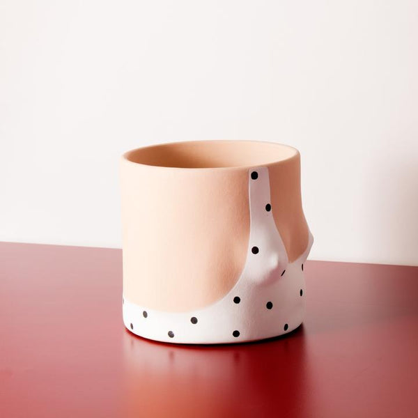 Close up Polka Dots Handmade light tone ceramic plant pot by Group Partner