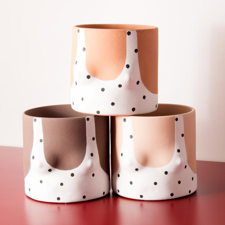 Three toned Polka Dots Handmade dark tone ceramic plant pot by Group Partner