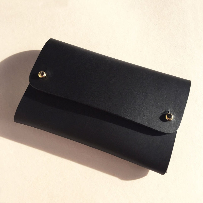 Front of Vegetable tanned leather black card wallet by slow fashion UK brand Kles