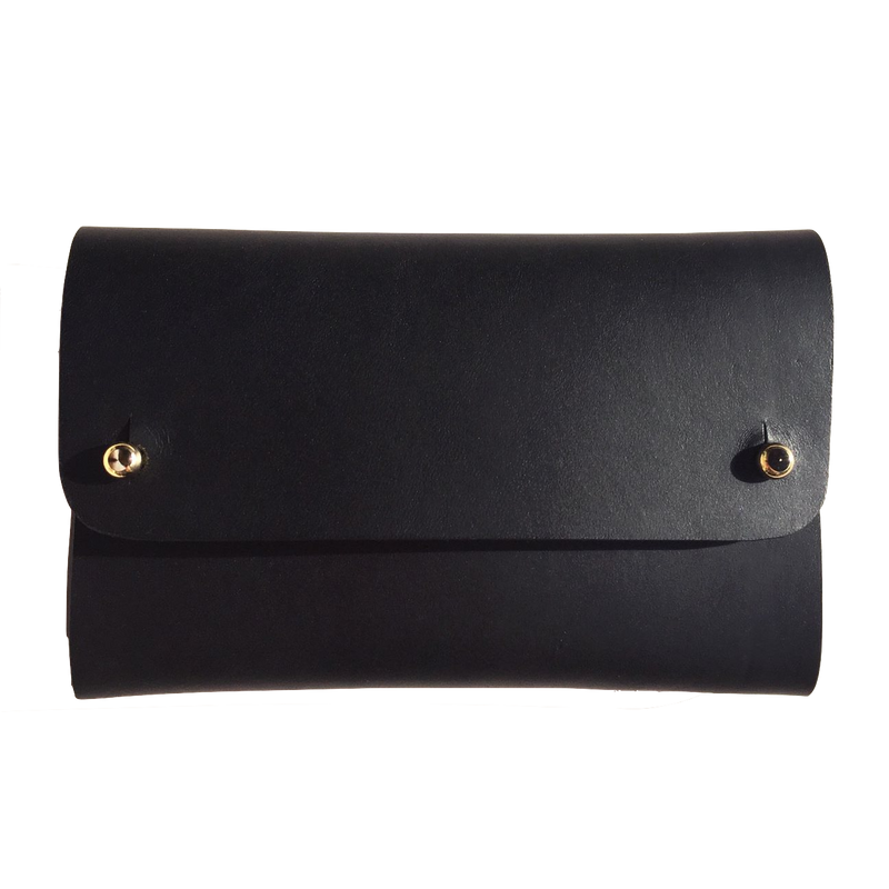 Vegetable tanned leather black card wallet handmade by slow fashion UK brand Kles