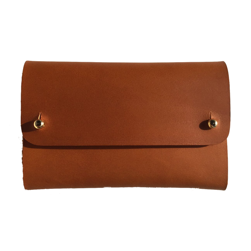 Vegetable tanned leather brown card wallet by slow fashion UK brand Kles