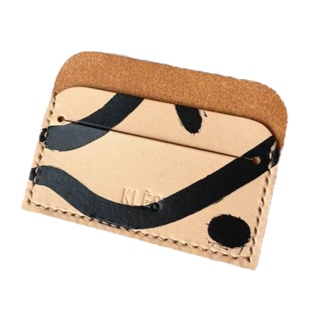 Vegetable tanned leather geometric patterns card holder by slow fashion UK brand Kles