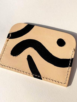 Handmade Geometric Patterns Leather Card Holder