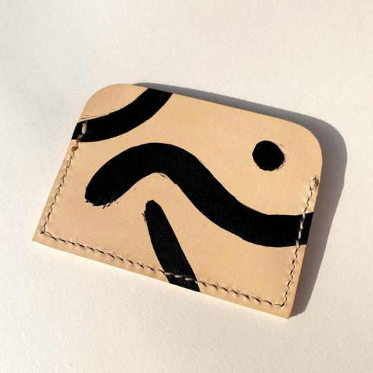 back Vegetable tanned leather geometric patterns card holder by slow fashion UK brand Kles