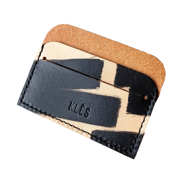 Vegetable tanned leather Ink Brushed card holder by slow fashion UK brand Kles