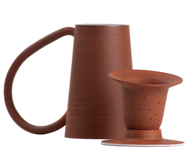 Hand thrown in red stoneware Tea Kit with lid, tea mug and tea strainer