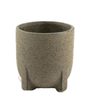speckled grey ceramic plant pot with legs