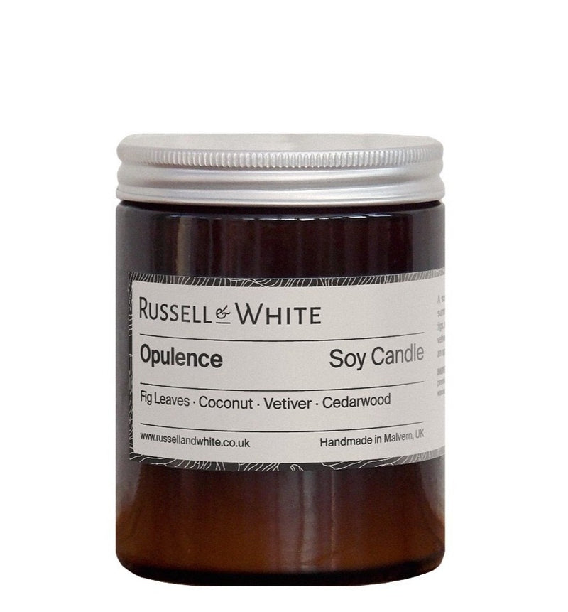 russell and white candles handmade in the UK