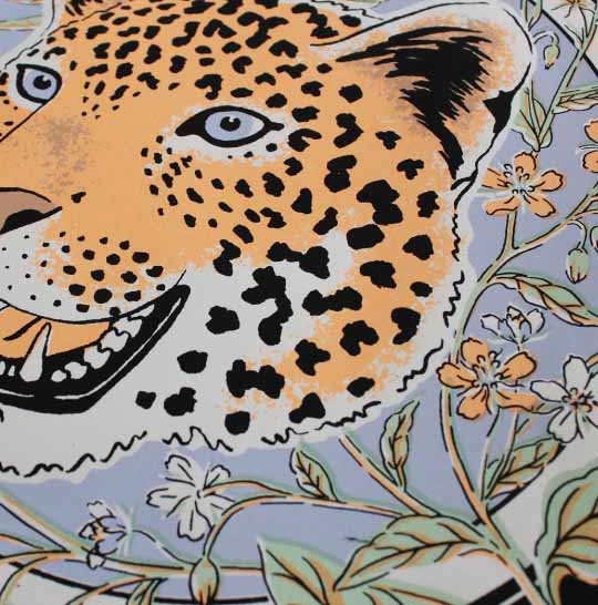 Details of hand screen printed limited edition illustration leopard by jacqueline colley