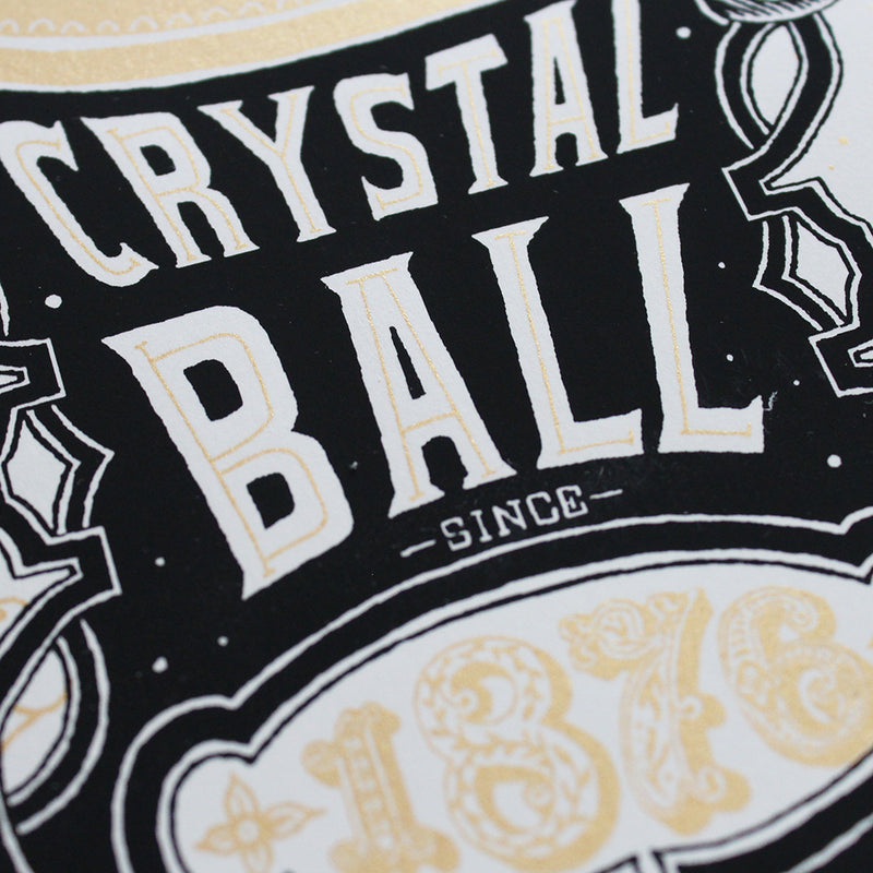Close up of Hand screen printed Jacqueline Colley Fortune told Futures Unfold limited edition illustration
