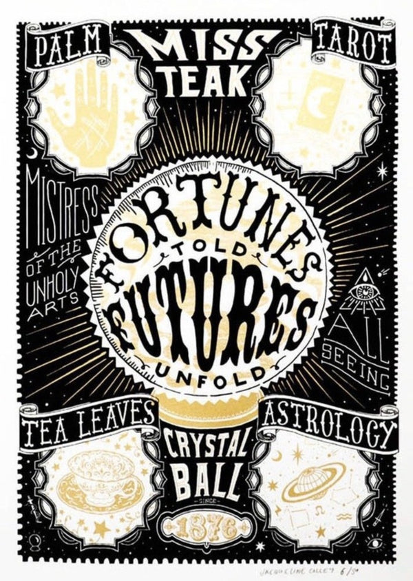 Hand screen printed Jacqueline Colley Fortune told Futures Unfold limited edition illustration